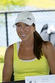 CHARESTON, SC - APR 04: Jelena Jankovic (SRB) takes questions from the media on April 4, 2011 during All Access Hour at the Family Circle Tennis Center in Charleston, SC