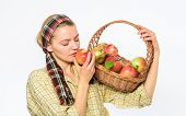 Eco Friendly Product Concept. Woman Sincere Villager Carry Basket With Natural Fruits. Lady Farmer G poster