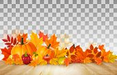 Happy Thanksgiving Background With Colorful Fruit And Vegetables On Transparent Background. Vector. poster