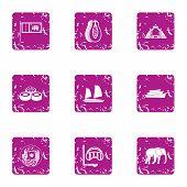 Elite Rest Icons Set. Grunge Set Of 9 Elite Rest Icons For Web Isolated On White Background poster