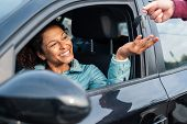 Black Car Driver Woman Smiling Showing New Car Keys And Car poster