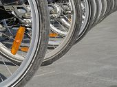 Bicycles Parking Lot. City Bike Rental System, Bicycle Wheels In Perspective Shot. Rental Bikes Stat poster