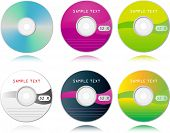 vector set of high detailed blank CDs
