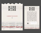 Set Of Front And Rear Wine Label For Wine Bottle. Vector Label Template poster