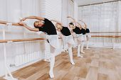 Ballet Training Of Group Of Young Girls Indoors. Classical Ballet. Girl In Balerina Tutu. Training I poster