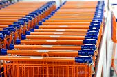 Many shopping carts at a supermarket