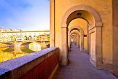 Arno River Coastline And Ponte Vecchio Bridge In Florence View, Tuscany Region Of Italy poster