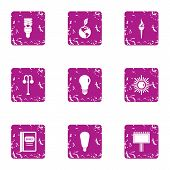 Pure Light Energy Icons Set. Grunge Set Of 9 Pure Light Energy Icons For Web Isolated On White Backg poster
