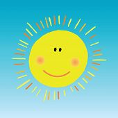 Abstract Smiling Sun On Blue Sky