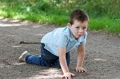 Little Boy Crawling Along A Woodland Path