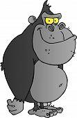 Gray Gorilla Cartoon Character