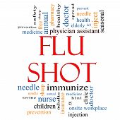 picture of flu shot  - Flu Shot Word Cloud Concept with great terms such as rx needle prevention inject medicine and more - JPG