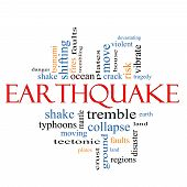 stock photo of vibration plate  - Earthquake Word Cloud Concept with great terms such as shake tremble plates earth land and more - JPG