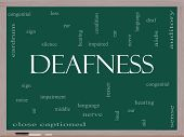 Deafness Word Cloud Concept On A Blackboard