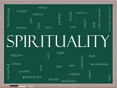 Spirituality Word Cloud Concept On A Blackboard