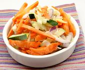 pic of crudites  - Assorted vegetables cut on a napkin surrounded by white background - JPG