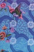 Blue Batik Sarong With Butterfly