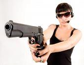 Girl In Black With Pistol