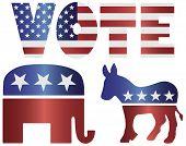 Vote Republican Elephant And Democrat Donkey Illustration
