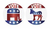 Vote Republican And Democrat Buttons Illustration