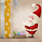 Perplexed Santa And Big Gift