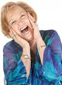 Blond Senior Woman Screaming