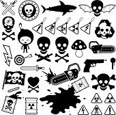 Set of danger skull icons
