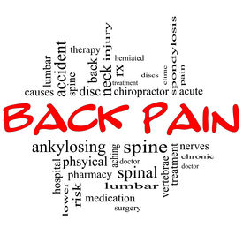 stock photo of herniated disc  - Back Pain Word Cloud Concept in black and red letters with great terms such as injury lumbar spine treatment discs and more - JPG