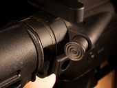 stock photo of ar-15  - Forward assist button on a modern sporting rifle - JPG