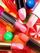 Beauty Still Life Candies Lipsticks Composition