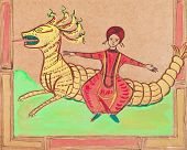 Persian Prince Flying On Dragon