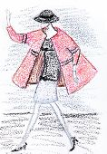Girl In A Short Pink Coat From 60Th Years