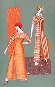 Long Orange Striped Dress With Slits