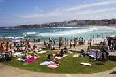 North Bondi Beach, Australia - Mar 16Th: People Relaxing On The Beach On March 16Th 2013. Bondi Is O
