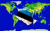 Fist In Color  National Flag Of Estonia    Punching World Map