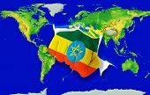 Fist In Color  National Flag Of Ethiopia    Punching World Map