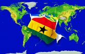 Fist In Color  National Flag Of Ghana    Punching World Map