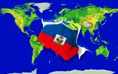 Fist In Color  National Flag Of Haiti    Punching World Map