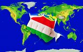 Fist In Color  National Flag Of Hungary    Punching World Map