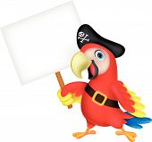 Parrot pirate cartoon with blank sign