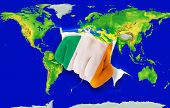 Fist In Color  National Flag Of Ireland    Punching World Map
