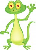 Cute green lizard cartoon waving hand