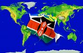 Fist In Color  National Flag Of Kenya    Punching World Map