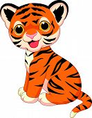 stock photo of tiger cub  - Vector illustration of Cute tiger cartoon isolated on white background - JPG