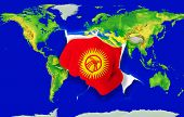 Fist In Color  National Flag Of Kirghizstan    Punching World Map