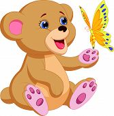 Cute baby bear cartoon playing with butterfly