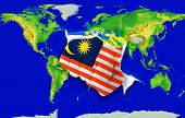 Fist In Color  National Flag Of Malaysia    Punching World Map