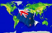 Fist In Color  National Flag Of New Zealand    Punching World Map