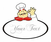 Happy Chef tun Okay Geste und Text