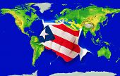 Fist In Color  National Flag Of Puertorico    Punching World Map